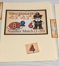 Thanksgiving -  File Folder Game  - Activity Set - Number Match  (1-20)
