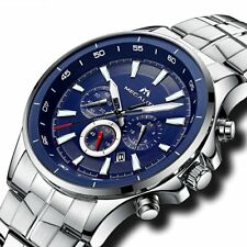 Mens Watches Men Chronograph Sport Silver Stainless Steel Wrist Watch