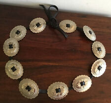 Lovely Vintage Ladies Concho Belt Silver Tone On Black Leather