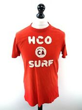HOLLISTER Mens T-Shirt Top L Large Red Cotton Distressed Look Fitted