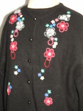 El Daws Black Hand Embroidered Cashmere Sweater Twinset LG