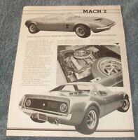 1967 Ford Mach 2 Prototype Concept Car Vintage Info Article --From 1984--