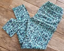 Womens LuLaRoe TC Tall And Curvy Leggings Blue Dark and Light Flowers Leaves