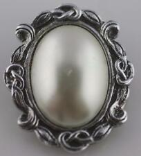 Vintage silver tone West Germany faux mabe white pearl dress sash scarf clip