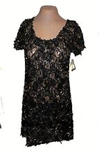 Dress, Casting, Sheer Mesh Lace 20%-Metal Black-Gold Textured! NWT MSRP-$178. 3