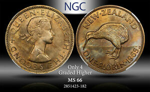 1965 NEW ZEALAND 1 FLORIN NGC MS 66 ONLY 4 GRADED HIGHER TONED