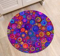 Home Decor Mandala Flower Round Carpet Floor Rug Anti-Skid Fitness Yoga Bath Mat