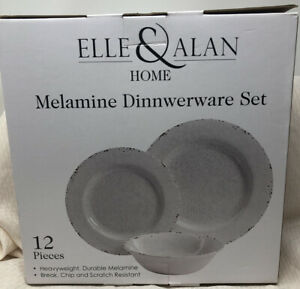 Elle & Alan 12 PC MELAMINE SET 4 DINNER 4 SALAD DESSERT PLATES 4 BOWLS CRACKLE