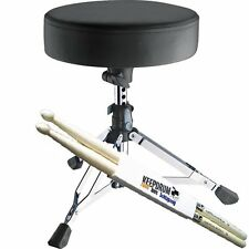 K&M 14010 Drummersitz Drumhocker Piccolino, extraTief + KEEPDRUM Drumsticks