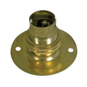 New Brass BC / B22 Cap/Fitting  Batten Lamp Holder  with Shade Ring With EARTH