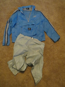 Vtg Nike Made in Taiwan Blue Nylon Track Running Suit Jacket & Pants size medium