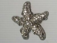 VINTAGE Silver RHINESTONE Starfish Pin BROOCH Textured SPARKLING