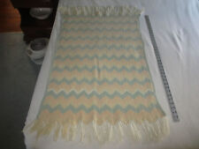"Vtg. Hand Crafted PASTEL ZIG-ZAG Carriage/Crib/Baby AFGHAN BLANKET - 25"" x 45"""