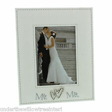 """Mr & Mrs Linen Photo Frame with Entwined Hearts  Holds 5x7"""" Picture"""