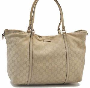 Authentic GUCCI Guccissima Leather Shoulder Tote Bag White B3680