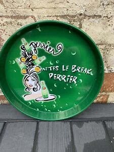 French Perrier metal Tray Water Serving Home Bar Green Advertising