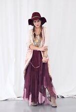 Rare Free People Tulle Maxi Slip Dress Size Small Wine Pink Decorative Straps