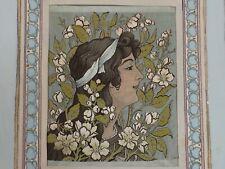 Femme Fleur Art Nouveau, d.l.g. d'Alphonse MUCHA. Tapisserie sur Soie. Vers 1900