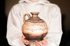 Floral wine bottle Handmade Flower vase Ewer Water Carafe Ceramic Pottery