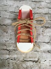 Melissa & Doug White And Red Wooden Lacing Shoe. Ages 3 And Up.