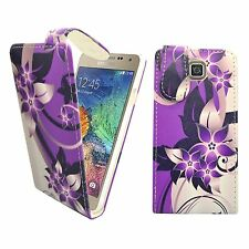 CASE FOR SAMSUNG GALAXY ALPHA PURPLE CREAM FLOWER FLIP PU LEATHER POUCH COVER