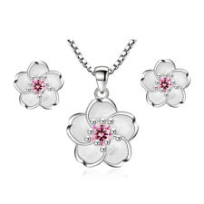 925 Sterling Silver Crystal Cherry Blossoms Earrings Pendant Necklace Xmas Gifts