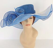 New Church Derby Wedding Party Sinamay 2 Layers Dress Hat 1765 Blue & Off White
