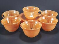 6 Fire King Peach Luster Laurel Cups and Saucers