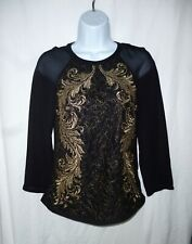 Brand New !!Ted Baker Stunning Black/Gold Evening Top / Blouse Size 0,UK Size 6