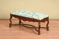 """Walnut Tufted Piano Bench  DOLLHOUSE FURNITURE 1/12 or 1"""" Scale BESPAQ"""
