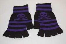 Striped Stripy Long Magic Unisex One Size Fingerless Gloves Emo Gothic Punk UK