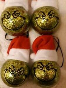 Set of 4 Grinch Santa hat Christmas ornaments balls hand crafted  us seller