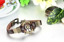 Bronze Tone Retro Pirate Rudder Brown Leather Cord Strap Mens Bracelet Wristband