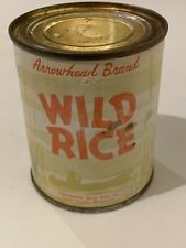 UNOPENED Vintage Arrowhead Wild Rice 8 oz Can food kitchen grocery product USA