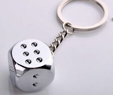 Polished Chrome Silver Smooth Surface Dice Key Chain Ring Keychain Keyring #5