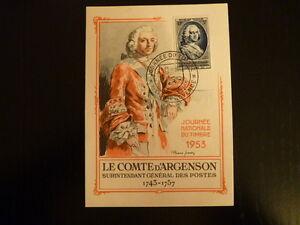 FRANCE PREMIER JOUR FDC YVERT 940  COMTE D ARGENSON  12+3F  AIX EN PROVENCE 1953