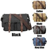 Vintage Canvas Leather Men's 14'' Laptop Messenger Shoulder Bag School Satchel