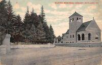 Rutland Vermont~Baxter Memorial Library~1908 Postcard