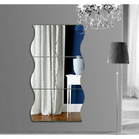 DIY 6 Pcs Waves Shape Self-adhesive 3D Mirror Wall Sticker Home Room Decal Decor