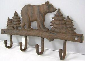 Iron Bear Key Rack Country Rustic Wall Key Holder Bears Coat Rack Hat Hook