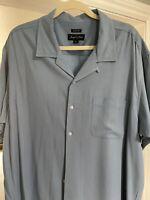 Joseph & Feiss Mens Shirt Silk Short Sleeve Button Front Pocket Size XXL Blue