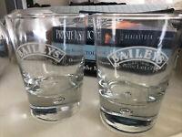 "BAILEYS IRISH CREAM Bubble Base Promotional Rocks Glasses 4"" Tall Set of 2"