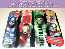 Avengers COLOURING & ACTIVITY PLACE MATS PAD Dinner Table Fun 30+ Sheets MARVEL