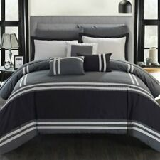 Gray Grey White Striped Color Block 10 pc Comforter Sheet Set Queen King Bed Bag