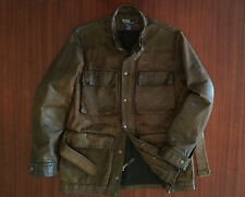 As New Ralph Lauren Heavy-Duty Distressed Leather Jacket Cowhide Brown Men's S M