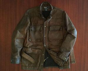 As New Ralph Lauren Heavy-Duty Distressed Leather Jacket Cowhide Brown Men's S M