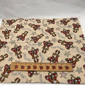 """Happy Holifays Angels Tan Cotton Fabric Pre Washed 44"""" x 35"""" Cotton Fabric"""