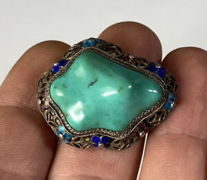Antique Chinese Export Enameled Silver And Turquoise Brooch