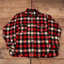 """Mens Vintage 50s Woolrich Red Plaid Wool Hunting Over Shirt XL 48"""" R16278"""