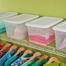 Plastic Storage Box Set 6 Clear Tote Containers Stackable Bins With Lids 20 Qt
